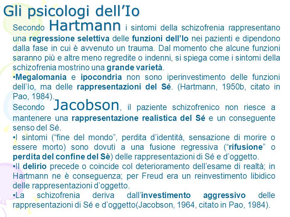 Hartmann Secondo Hartmann i sintomi della schizofrenia rappresentano una regressione selettiva delle funzioni dellIo nei pazienti e dipendono dalla fa
