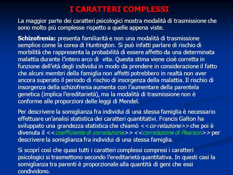 I CARATTERI COMPLESSI La maggior parte dei caratteri psicologici mostra modalità di trasmissione che sono molto più complesse rispetto a quelle appena