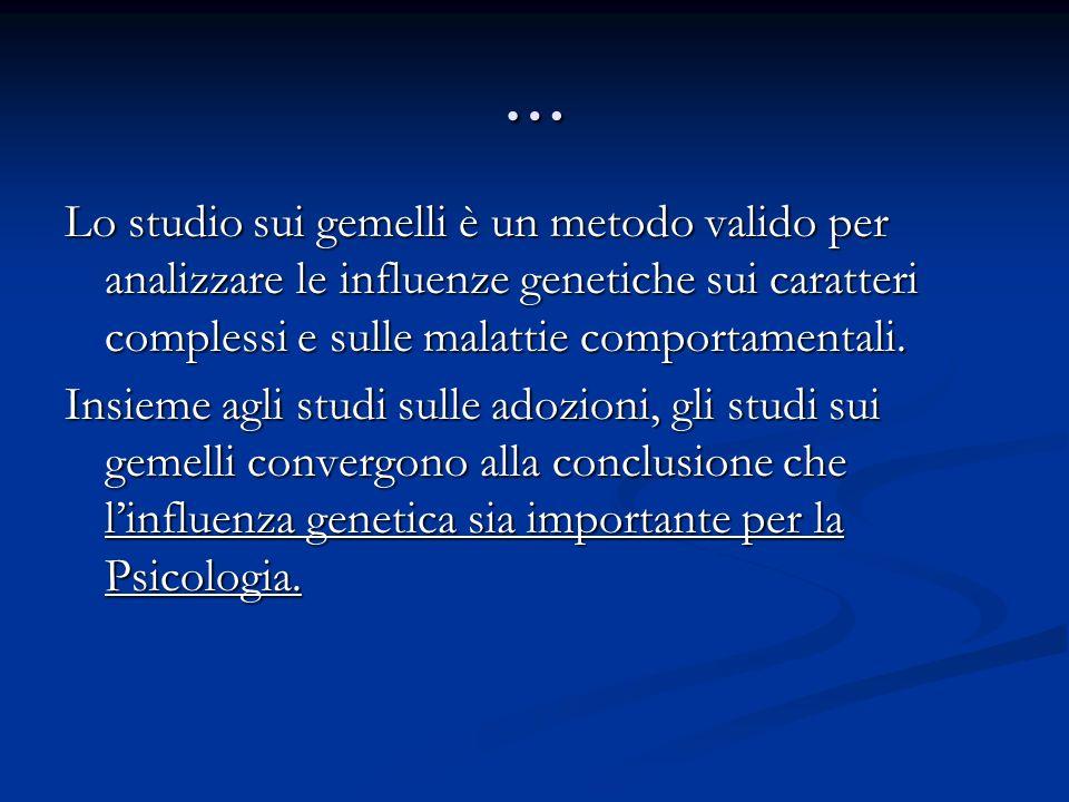 … Lo studio sui gemelli è un metodo valido per analizzare le influenze genetiche sui caratteri complessi e sulle malattie comportamentali. Insieme agl