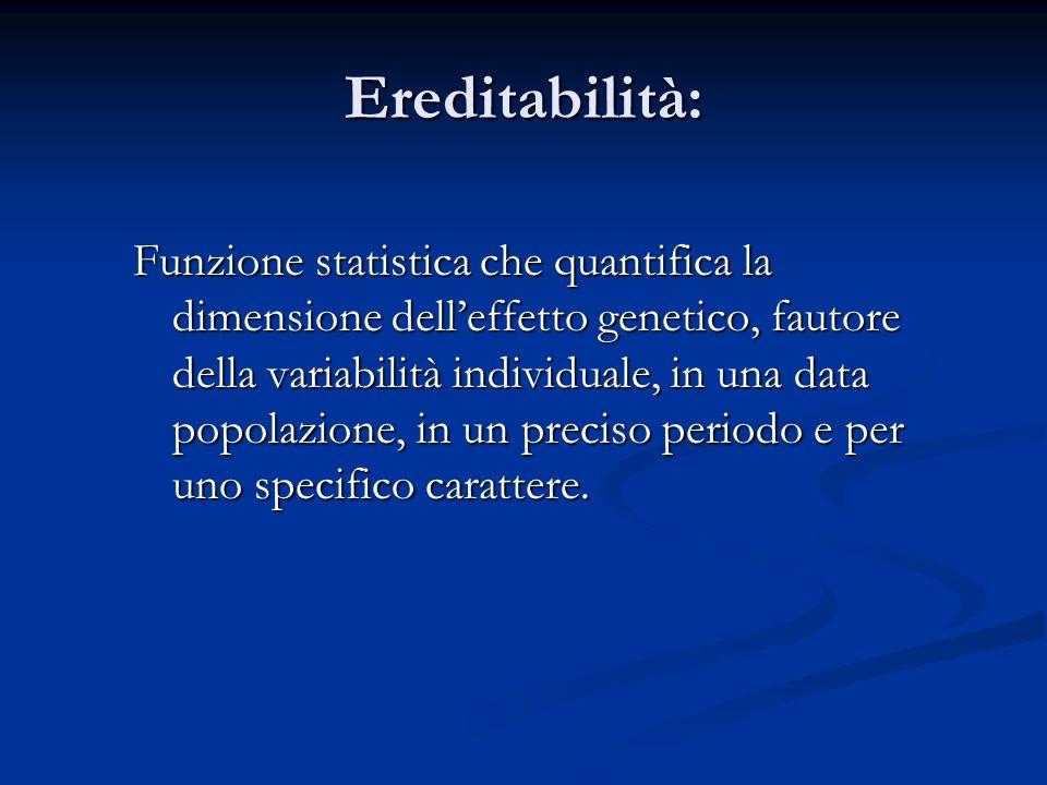 Ereditabilità: Funzione statistica che quantifica la dimensione delleffetto genetico, fautore della variabilità individuale, in una data popolazione,