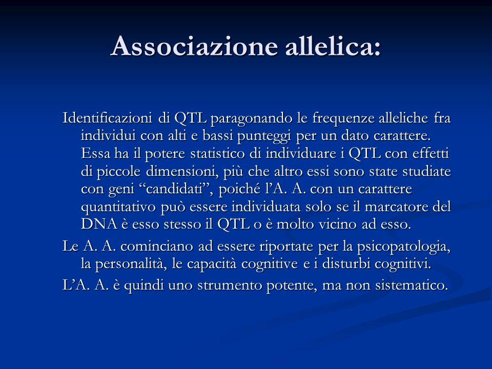 Associazione allelica: Identificazioni di QTL paragonando le frequenze alleliche fra individui con alti e bassi punteggi per un dato carattere. Essa h