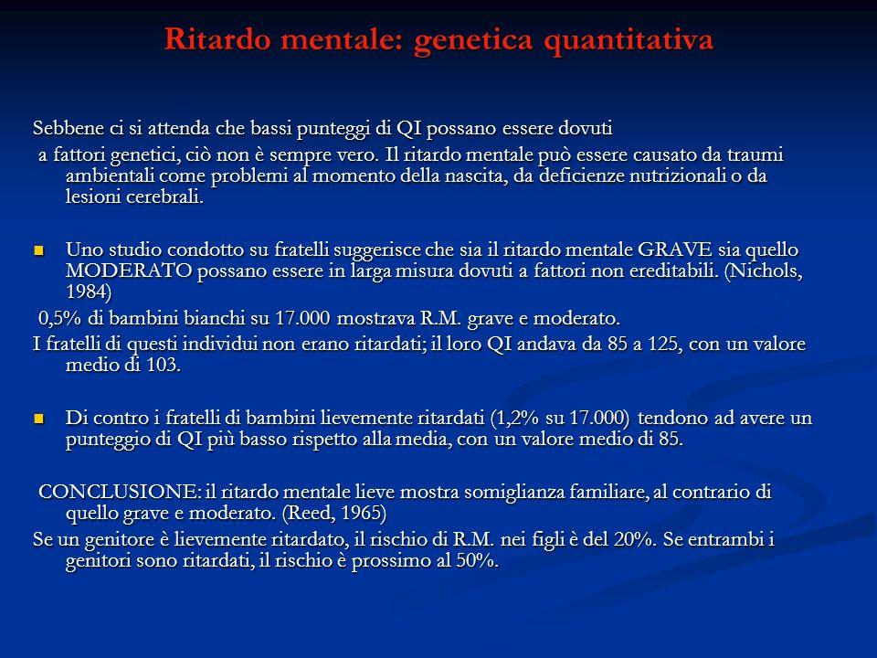 Ritardo mentale: genetica quantitativa Sebbene ci si attenda che bassi punteggi di QI possano essere dovuti a fattori genetici, ciò non è sempre vero.