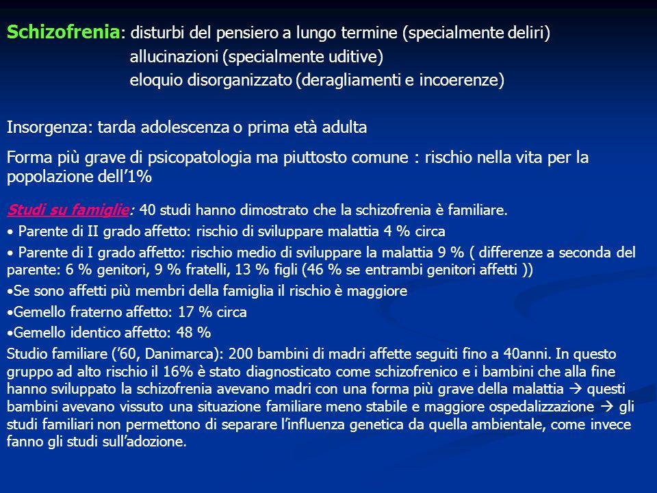 Schizofrenia : disturbi del pensiero a lungo termine (specialmente deliri) allucinazioni (specialmente uditive) eloquio disorganizzato (deragliamenti