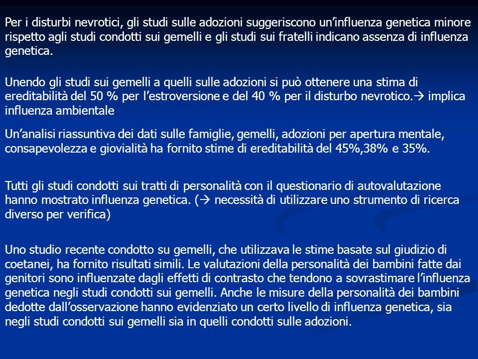 Per i disturbi nevrotici, gli studi sulle adozioni suggeriscono uninfluenza genetica minore rispetto agli studi condotti sui gemelli e gli studi sui f