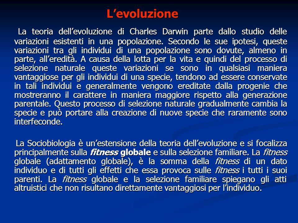 Levoluzione La teoria dellevoluzione di Charles Darwin parte dallo studio delle variazioni esistenti in una popolazione. Secondo le sue ipotesi, quest