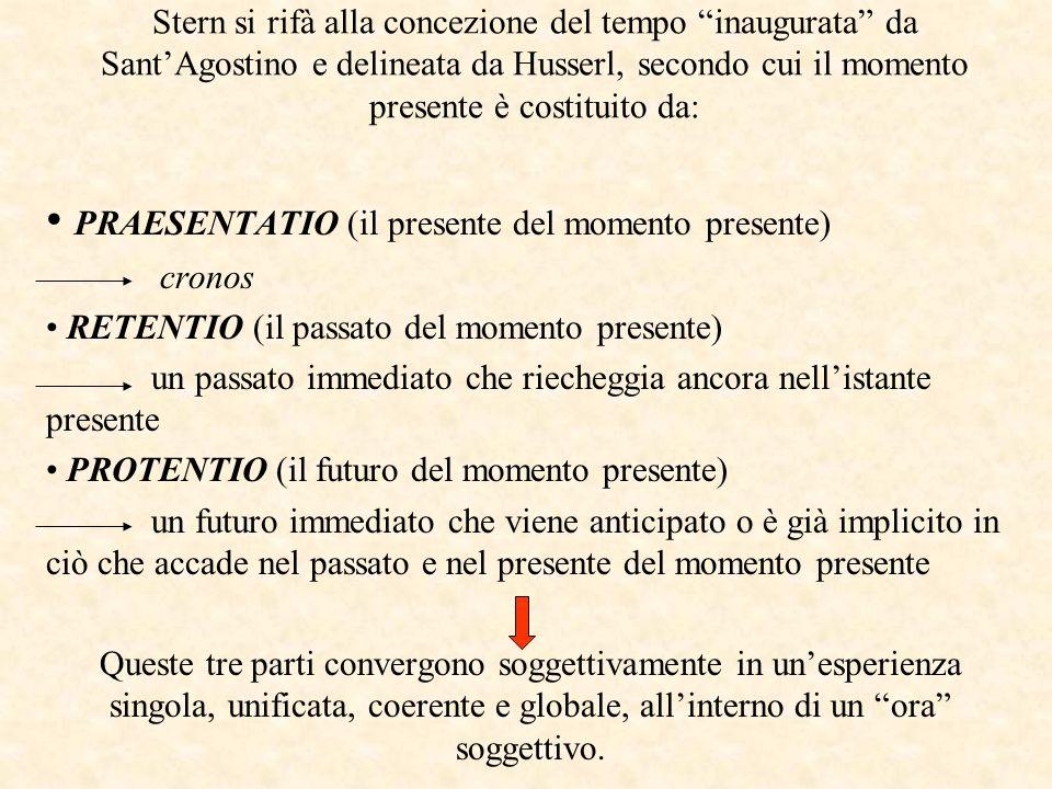 Stern si rifà alla concezione del tempo inaugurata da SantAgostino e delineata da Husserl, secondo cui il momento presente è costituito da: PRAESENTATIO (il presente del momento presente) cronos RETENTIO (il passato del momento presente) un passato immediato che riecheggia ancora nellistante presente PROTENTIO (il futuro del momento presente) un futuro immediato che viene anticipato o è già implicito in ciò che accade nel passato e nel presente del momento presente Queste tre parti convergono soggettivamente in unesperienza singola, unificata, coerente e globale, allinterno di un ora soggettivo.