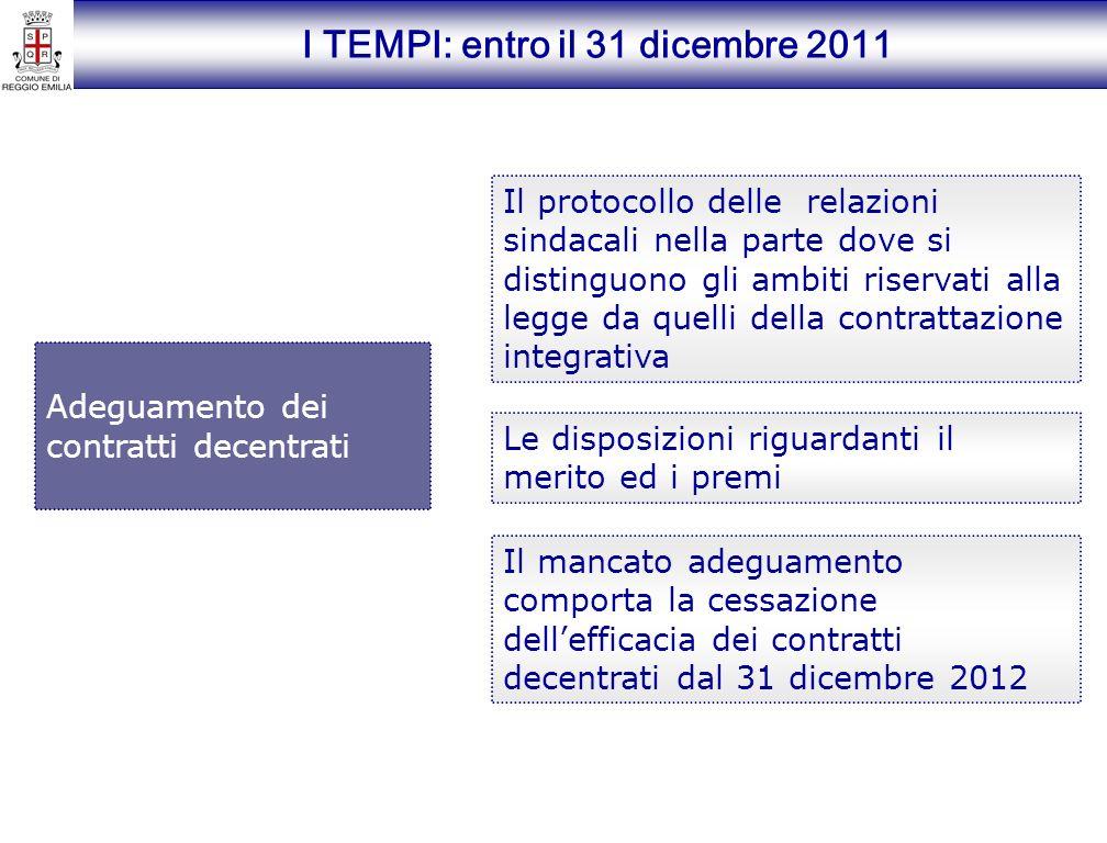 I TEMPI: entro il 31 dicembre 2011 Adeguamento dei contratti decentrati Il protocollo delle relazioni sindacali nella parte dove si distinguono gli am