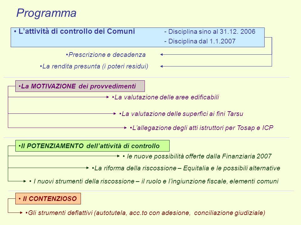 Programma Lattività di controllo dei Comuni - Disciplina sino al 31.12. 2006 - Disciplina dal 1.1.2007 Prescrizione e decadenza La rendita presunta (i