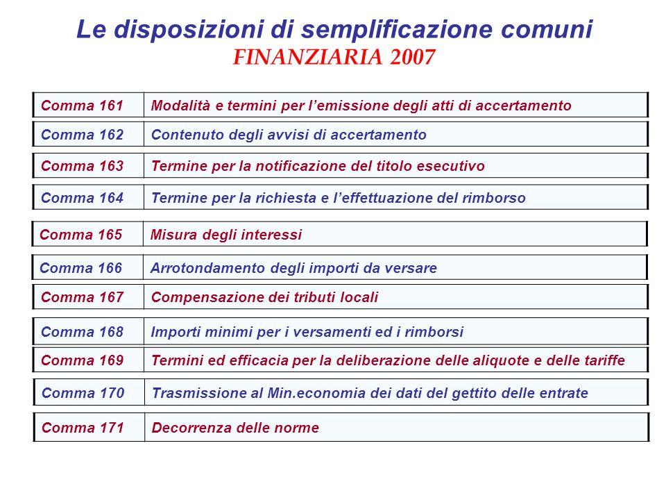 Le disposizioni di semplificazione comuni FINANZIARIA 2007 Comma 170Trasmissione al Min.economia dei dati del gettito delle entrate Comma 161Modalità