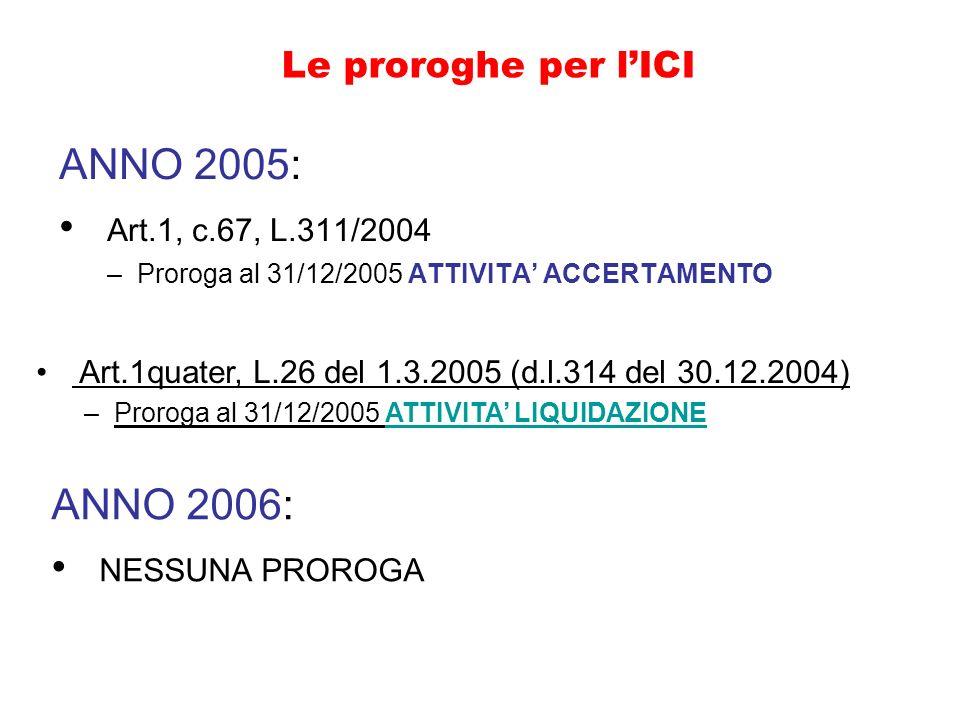 Le proroghe per lICI ANNO 2005: Art.1, c.67, L.311/2004 –Proroga al 31/12/2005 ATTIVITA ACCERTAMENTO ANNO 2006: NESSUNA PROROGA Art.1quater, L.26 del