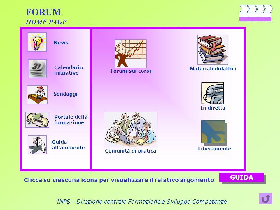 INPS - Direzione centrale Formazione e Sviluppo Competenze FORUM HOME PAGE Clicca su ciascuna icona per visualizzare il relativo argomento GUIDA Liber