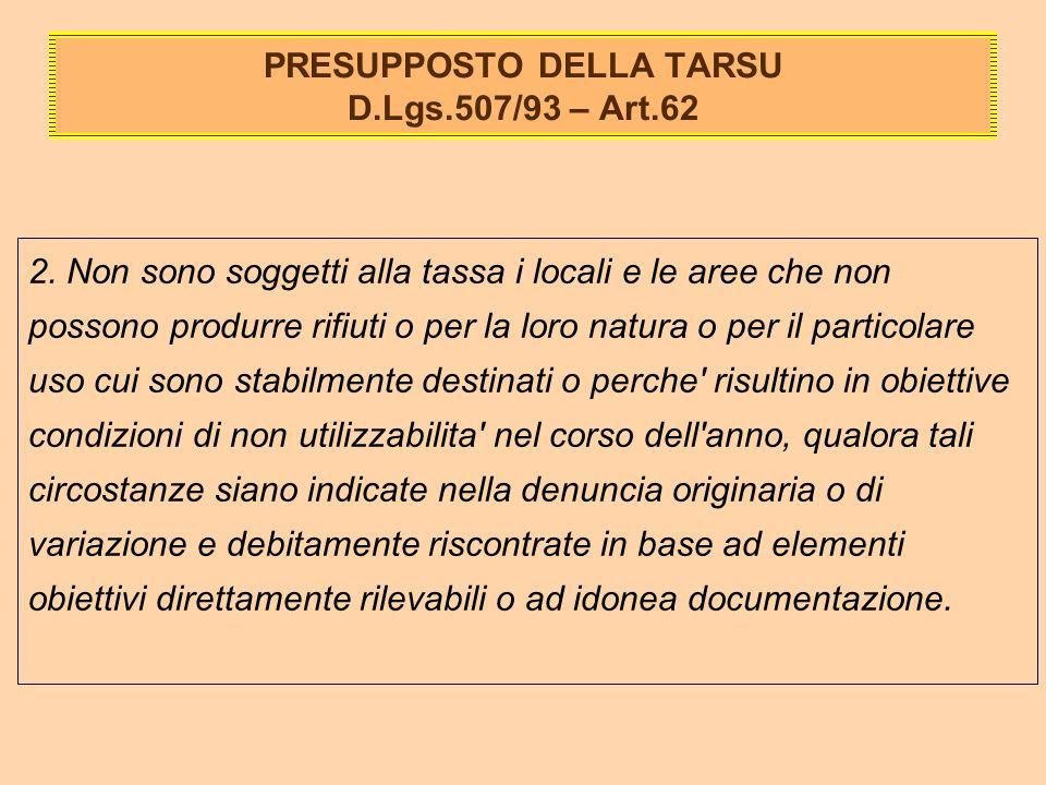 PRESUPPOSTO DELLA TARSU D.Lgs.507/93 – Art.62 2.