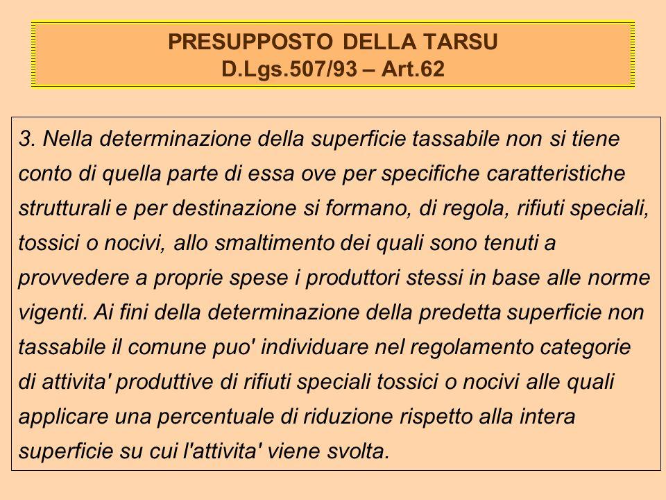 PRESUPPOSTO DELLA TARSU D.Lgs.507/93 – Art.62 3.