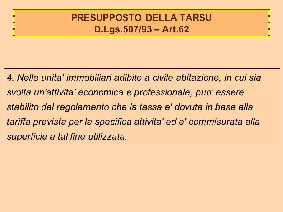 PRESUPPOSTO DELLA TARSU D.Lgs.507/93 – Art.62 4.