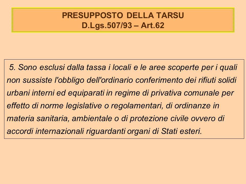 PRESUPPOSTO DELLA TARSU D.Lgs.507/93 – Art.62 5.