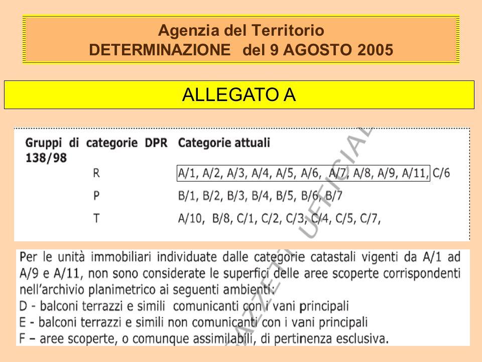 Agenzia del Territorio DETERMINAZIONE del 9 AGOSTO 2005 ALLEGATO A