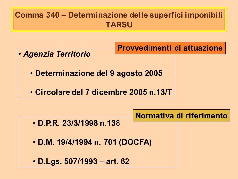 Comma 340 – Determinazione delle superfici imponibili TARSU Agenzia Territorio Determinazione del 9 agosto 2005 Circolare del 7 dicembre 2005 n.13/T Provvedimenti di attuazione D.P.R.