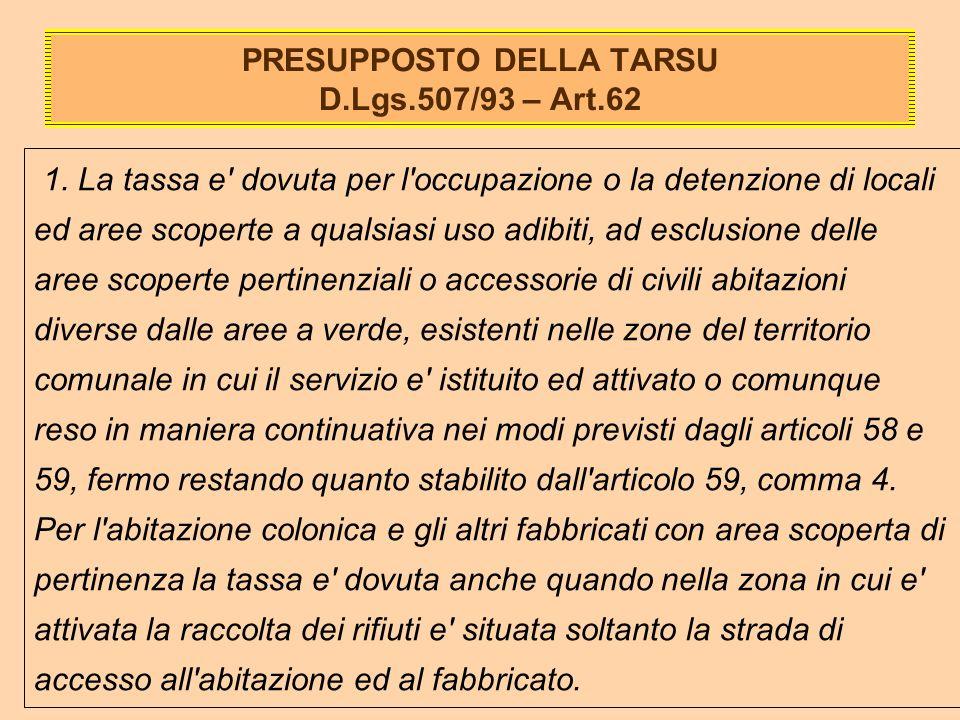 PRESUPPOSTO DELLA TARSU D.Lgs.507/93 – Art.62 1.