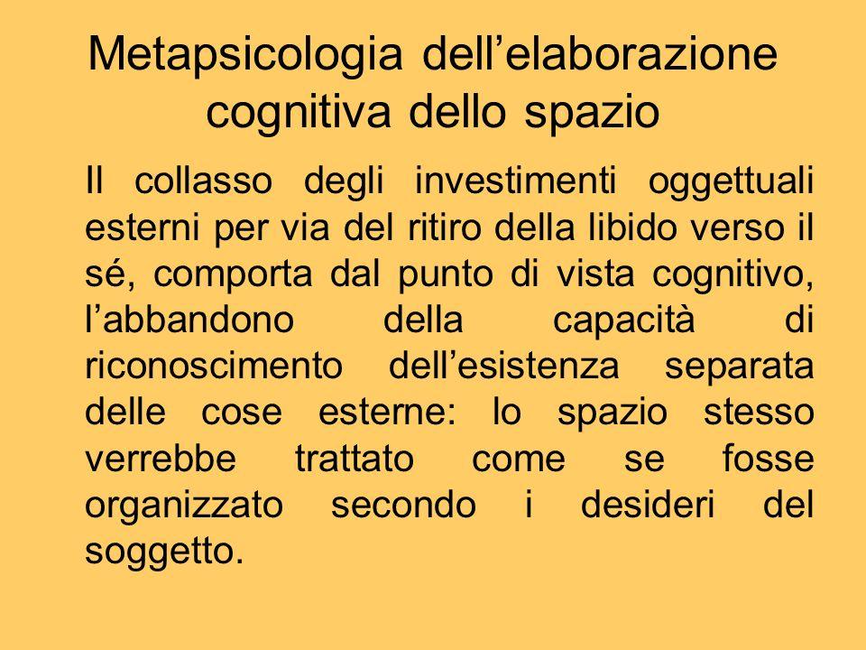 Metapsicologia dellelaborazione cognitiva dello spazio Il collasso degli investimenti oggettuali esterni per via del ritiro della libido verso il sé,