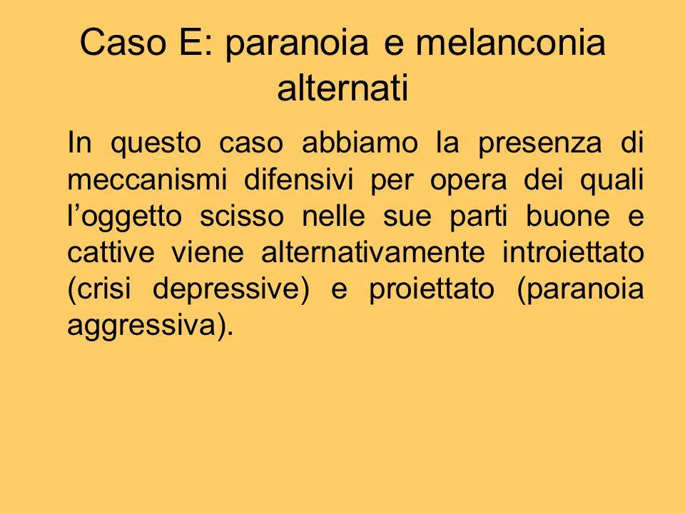 Caso E: paranoia e melanconia alternati In questo caso abbiamo la presenza di meccanismi difensivi per opera dei quali loggetto scisso nelle sue parti