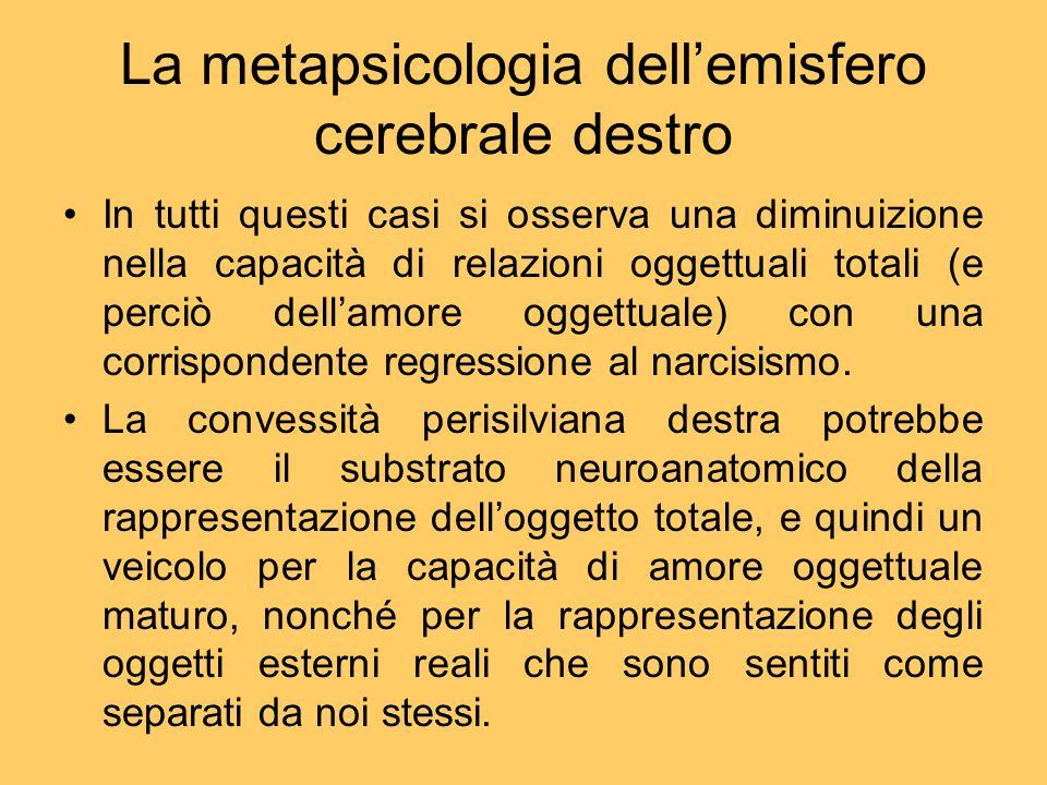 La metapsicologia dellemisfero cerebrale destro In tutti questi casi si osserva una diminuizione nella capacità di relazioni oggettuali totali (e perc