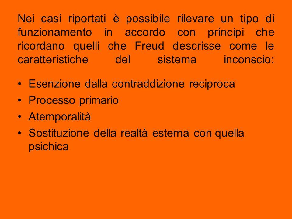 Nei casi riportati è possibile rilevare un tipo di funzionamento in accordo con principi che ricordano quelli che Freud descrisse come le caratteristi