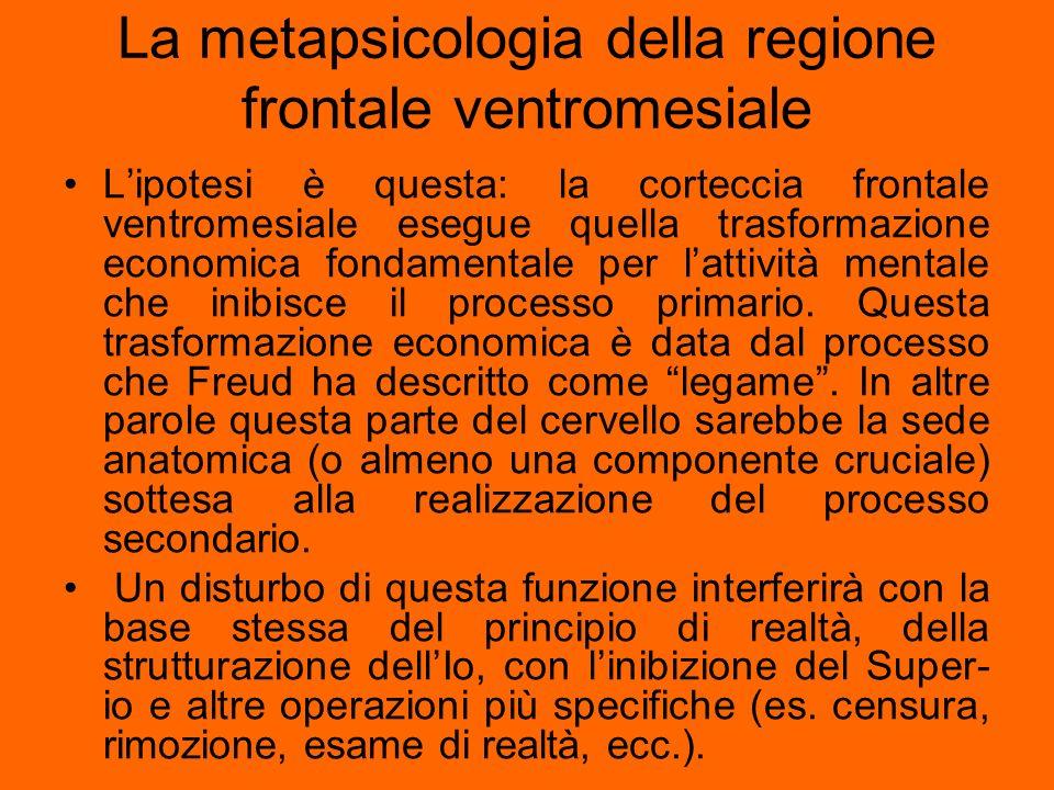 La metapsicologia della regione frontale ventromesiale Lipotesi è questa: la corteccia frontale ventromesiale esegue quella trasformazione economica f