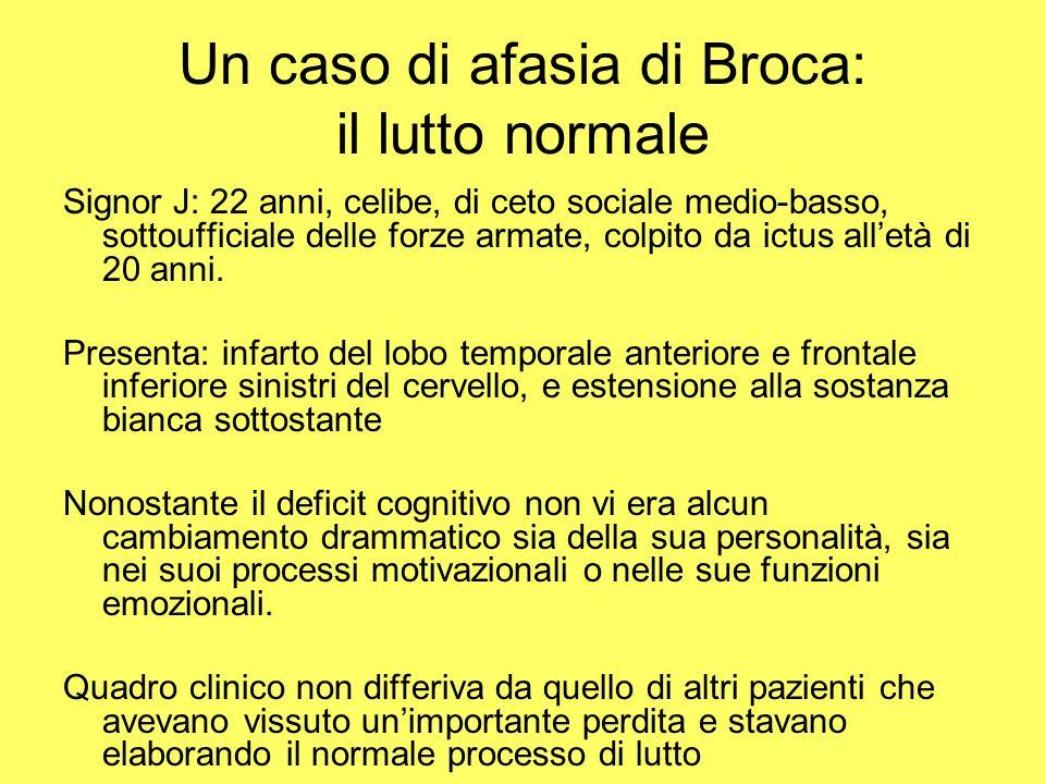 Un caso di afasia di Broca: il lutto normale Signor J: 22 anni, celibe, di ceto sociale medio-basso, sottoufficiale delle forze armate, colpito da ict
