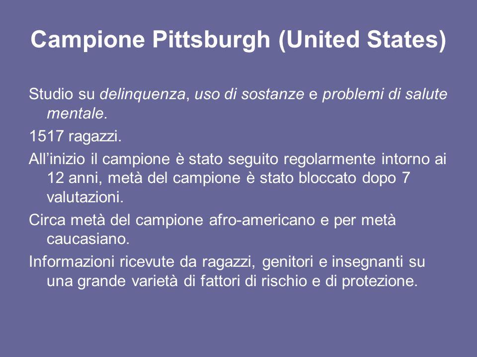 Campione Pittsburgh (United States) Studio su delinquenza, uso di sostanze e problemi di salute mentale.