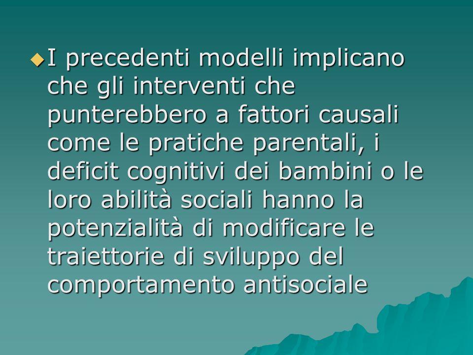 I precedenti modelli implicano che gli interventi che punterebbero a fattori causali come le pratiche parentali, i deficit cognitivi dei bambini o le