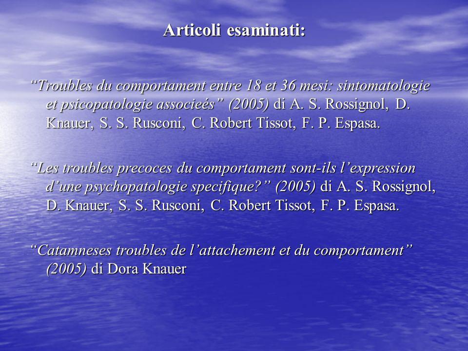 Articoli esaminati: Troubles du comportament entre 18 et 36 mesi: sintomatologie et psicopatologie associeés (2005) di A. S. Rossignol, D. Knauer, S.