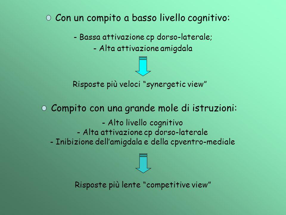 Con un compito a basso livello cognitivo: - Bassa attivazione cp dorso-laterale; - Alta attivazione amigdala Risposte più veloci synergetic view Compi