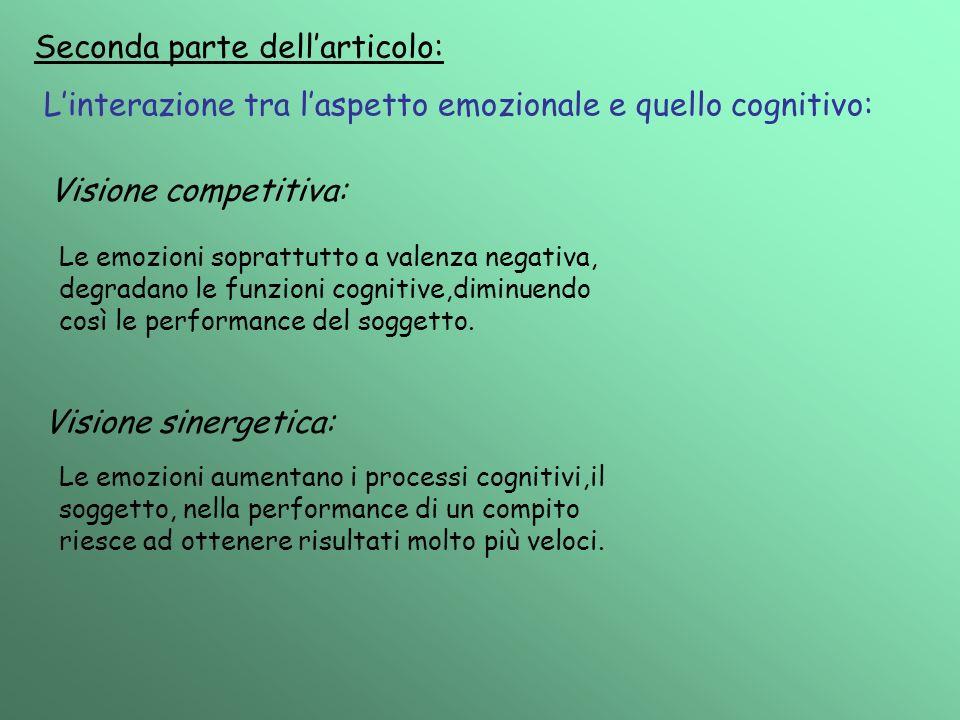 Seconda parte dellarticolo: Linterazione tra laspetto emozionale e quello cognitivo: Visione competitiva: Le emozioni soprattutto a valenza negativa,