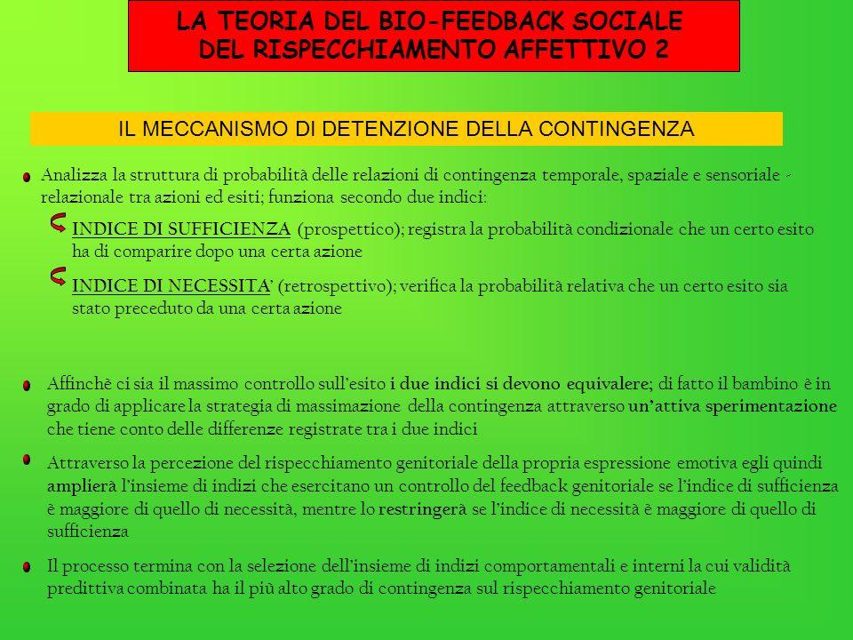 LA TEORIA DEL BIO-FEEDBACK SOCIALE DEL RISPECCHIAMENTO AFFETTIVO 2 Analizza la struttura di probabilità delle relazioni di contingenza temporale, spaz