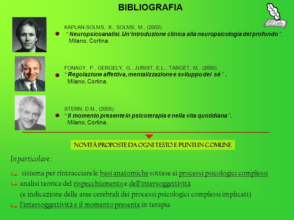 KAPLAN-SOLMS, K., SOLMS, M., (2002). Neuropsicoanalisi. Unintroduzione clinica alla neuropsicologia del profondo. Milano, Cortina. FONAGY, P., GERGELY