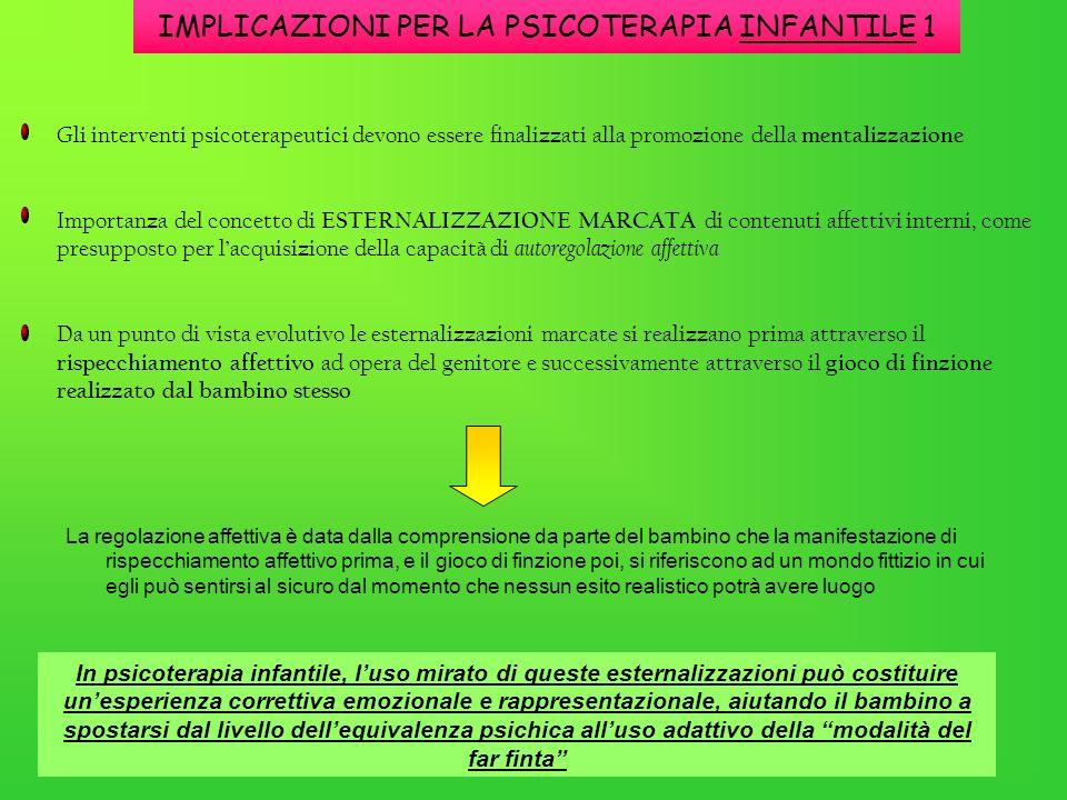 IMPLICAZIONI PER LA PSICOTERAPIA INFANTILE 1 La regolazione affettiva è data dalla comprensione da parte del bambino che la manifestazione di rispecch