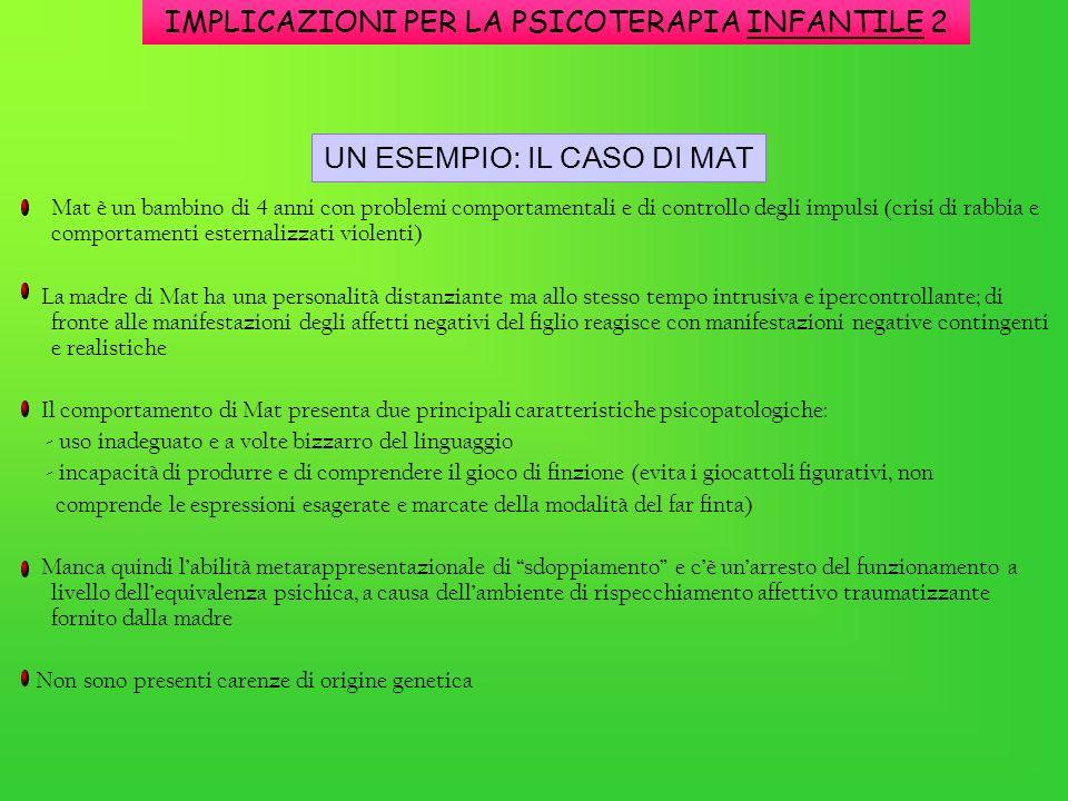 IMPLICAZIONI PER LA PSICOTERAPIA INFANTILE 2 Mat è un bambino di 4 anni con problemi comportamentali e di controllo degli impulsi (crisi di rabbia e c