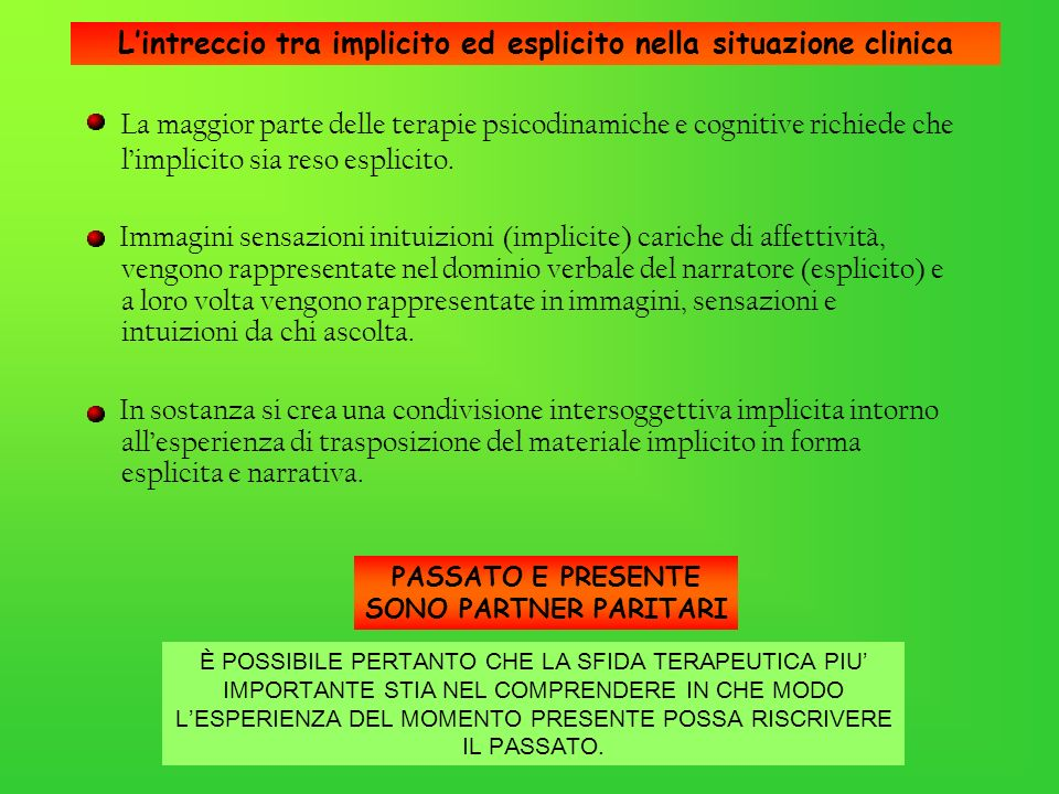Lintreccio tra implicito ed esplicito nella situazione clinica La maggior parte delle terapie psicodinamiche e cognitive richiede che limplicito sia r