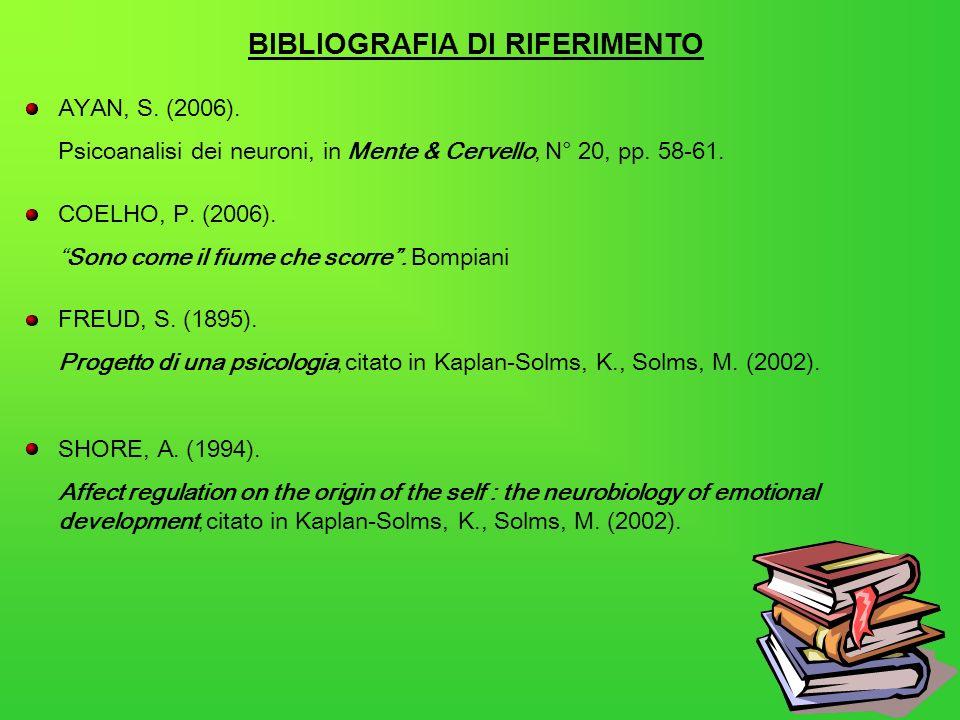 BIBLIOGRAFIA DI RIFERIMENTO AYAN, S. (2006). Psicoanalisi dei neuroni, in Mente & Cervello, N° 20, pp. 58-61. COELHO, P. (2006). Sono come il fiume ch
