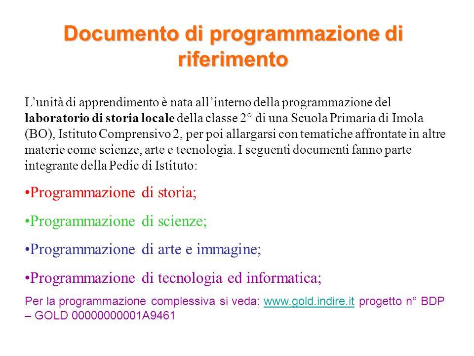 Documento di programmazione di riferimento Lunità di apprendimento è nata allinterno della programmazione del laboratorio di storia locale della class
