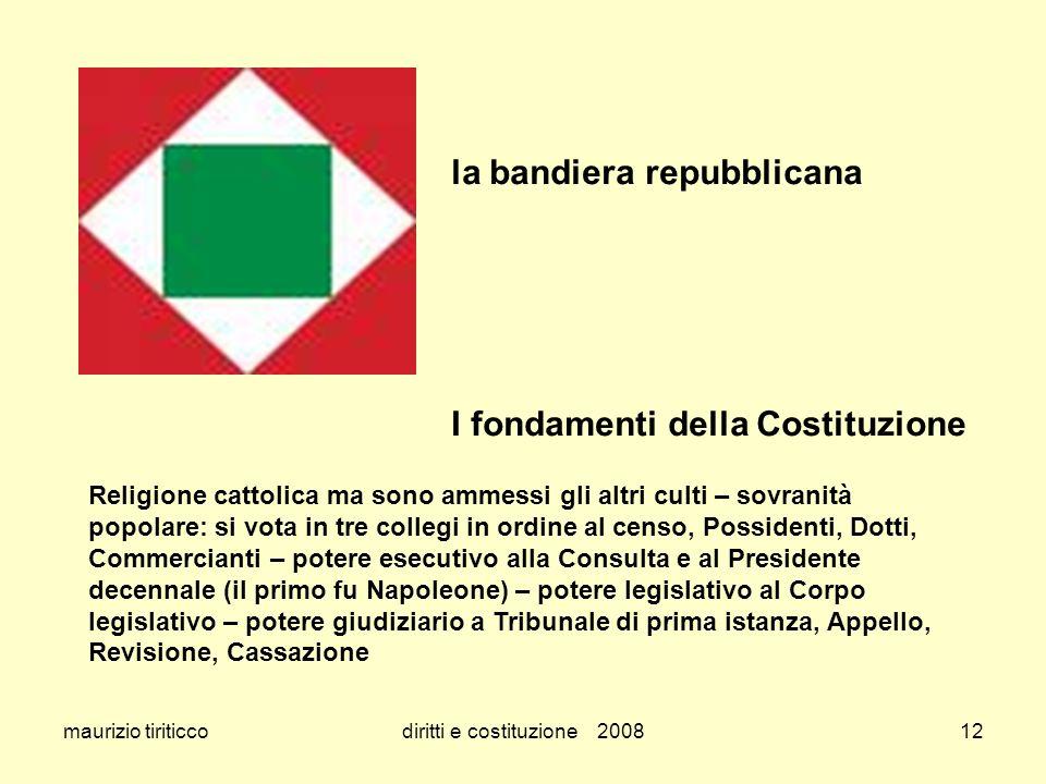 maurizio tiriticcodiritti e costituzione 200812 la bandiera repubblicana I fondamenti della Costituzione Religione cattolica ma sono ammessi gli altri