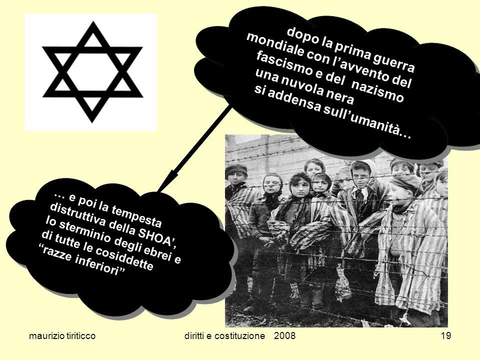 maurizio tiriticcodiritti e costituzione 200819 dopo la prima guerra mondiale con lavvento del fascismo e del nazismo una nuvola nera si addensa sullu