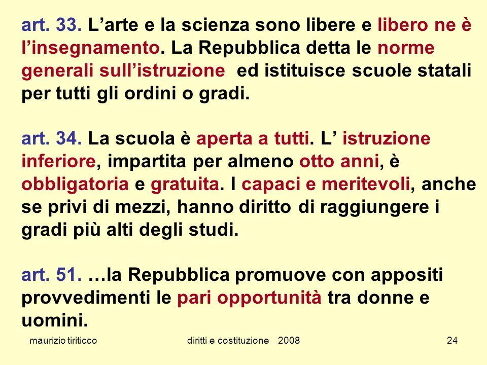 maurizio tiriticcodiritti e costituzione 200824 art. 33. Larte e la scienza sono libere e libero ne è linsegnamento. La Repubblica detta le norme gene