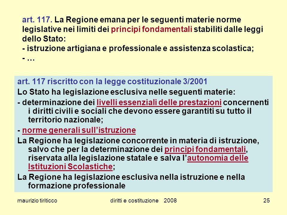 maurizio tiriticcodiritti e costituzione 200825 art. 117. La Regione emana per le seguenti materie norme legislative nei limiti dei principi fondament