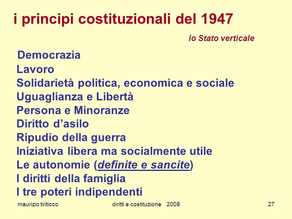 maurizio tiriticcodiritti e costituzione 200827 i principi costituzionali del 1947 lo Stato verticale Democrazia Lavoro Solidarietà politica, economic
