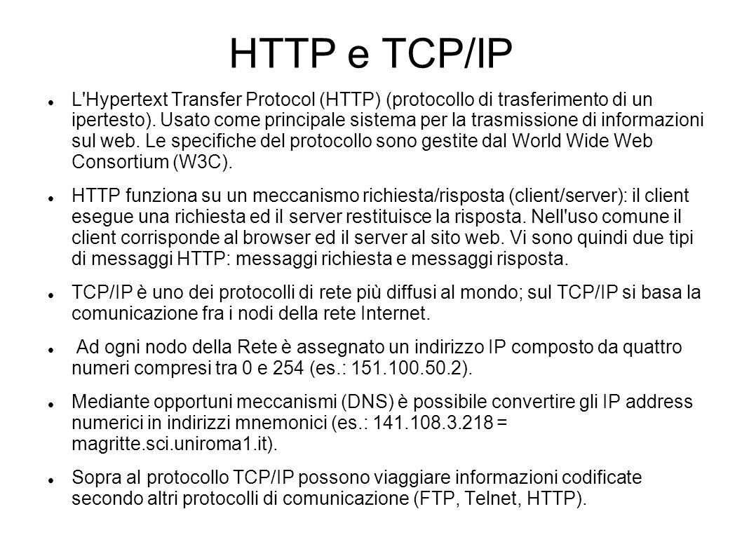 HTTP e TCP/IP L'Hypertext Transfer Protocol (HTTP) (protocollo di trasferimento di un ipertesto). Usato come principale sistema per la trasmissione di