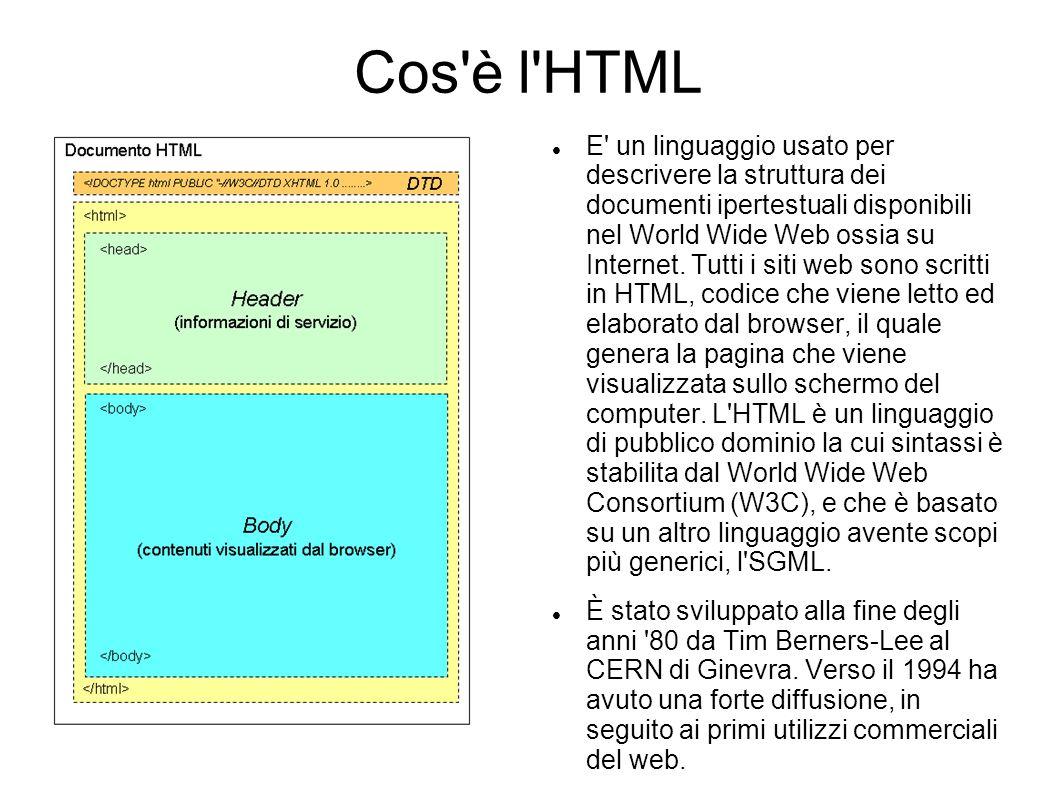 Cos'è l'HTML E' un linguaggio usato per descrivere la struttura dei documenti ipertestuali disponibili nel World Wide Web ossia su Internet. Tutti i s