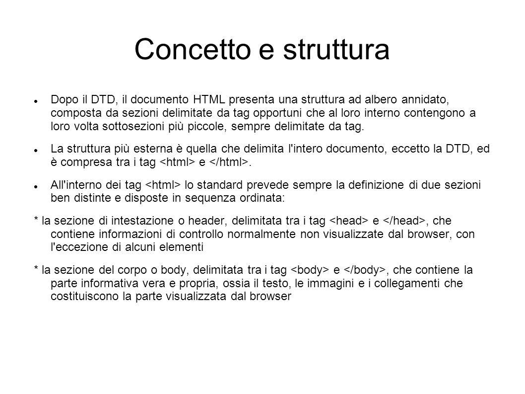 Concetto e struttura Dopo il DTD, il documento HTML presenta una struttura ad albero annidato, composta da sezioni delimitate da tag opportuni che al