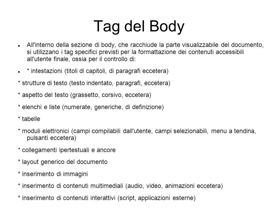Tag del Body All'interno della sezione di body, che racchiude la parte visualizzabile del documento, si utilizzano i tag specifici previsti per la for