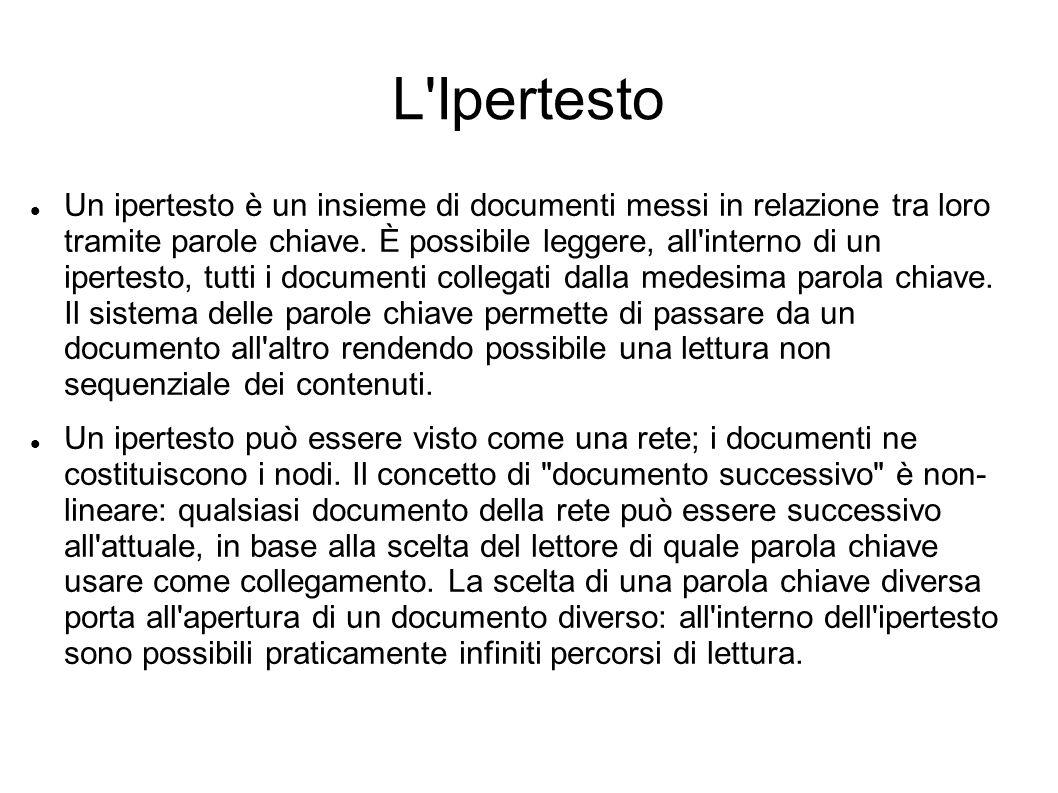 L'Ipertesto Un ipertesto è un insieme di documenti messi in relazione tra loro tramite parole chiave. È possibile leggere, all'interno di un ipertesto